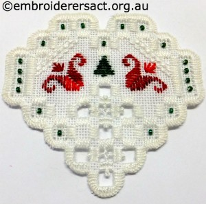 Hardanger Christmas Ornament 9 stitched by Jillian Bath