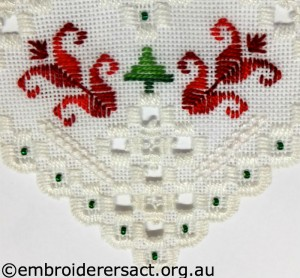 Hardanger Christmas Ornament No 11 stitched by Jillian Bath