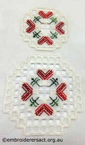 Hardanger Christmas Ornament No.12 stitched by Jillian Bath