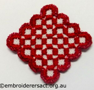 Hardanger Red Diamond stitched by Jillian Bath