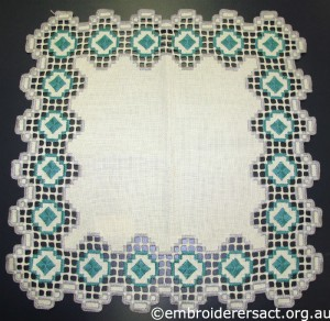 Hardanger Square with Green Diamonds stitched by Levona Lea