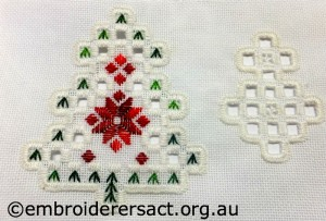 Hardanger christmas Ornament 8 stitched by Jillian Bath