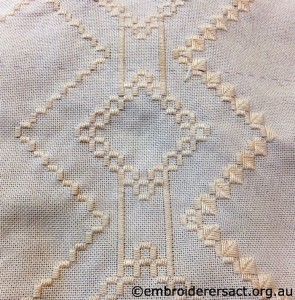 Hardanger in progress stitched by Marion Hendy