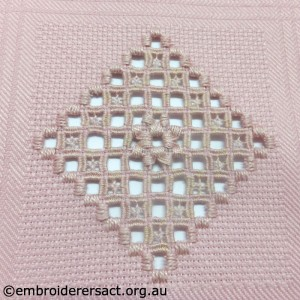 Pink Hardanger Diamond with Sunflower Motif stitched by Brenda Phillips