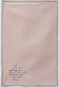 Pink Hardanger Mat by Marjorie Gilby