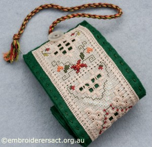 Top end of Hardanger Needle Roll stitched by Jillian Bath