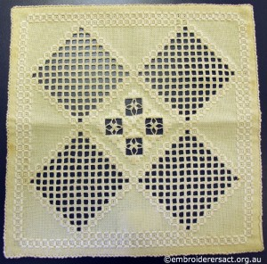 White Hardanger Square stitched by Levona Lea