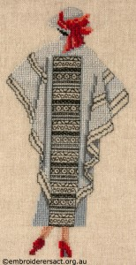 X stitch and Blackwork Woman in Coat by Marjorie Gilby