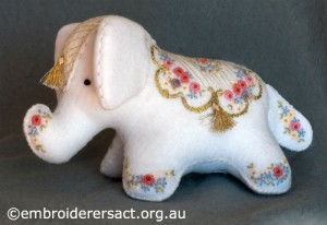Detail 1 of Elephant Softie stitched by Barbara Adams