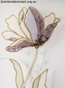 Detail 1 of Encased Organza Tulip stitched by Agnes Sciberras