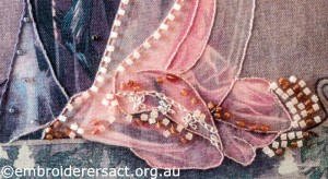 Detail 2 of Embellished Lady stitched by Agnes Sciberras