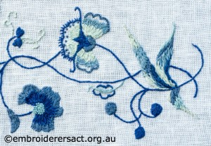 Detail 3 of Deerfield Embroidery stitched by Marjorie Gilby