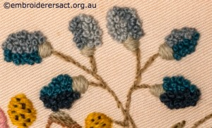 Detail 4 from Crewel Cushion 2 stitched by Audrey Schultz
