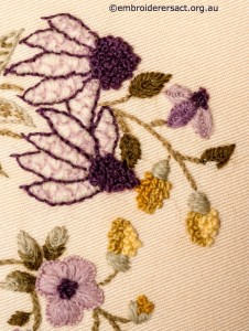 Detail 5 from Crewel Cushion 2 stitched by Audrey Schultz