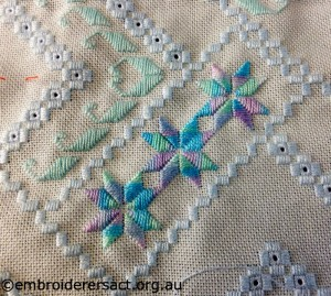 Detail of Hardanger in Progress by Avis Gesling