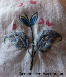 Detail of Vintage Embroidery stitched by Sandra Pollard