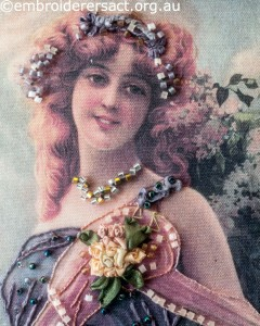 Detail1 of Embellished Lady stitched by Agnes Sciberras