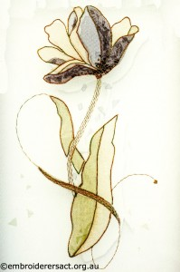 Encased Organza Tulip stitched by Agnes Sciberras
