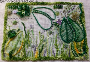 Green Contemporary Needlewok in Progress stitched by Evelyn Foster