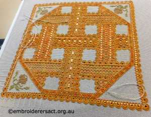 Hapsburg Lace in Progress stitched by Jan Hure