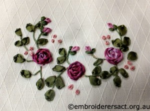 Pink Ribbon Embroidery stitched by Andrea Moore