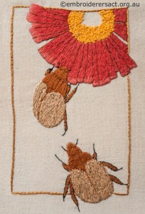 Red Flower with Beetles Diary Cover by Marjorie Gilby