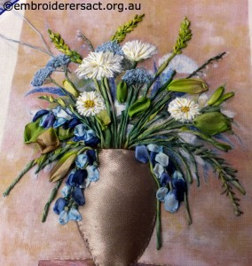 Vase of Flowers Ribbon Embroidery stitched by Andrea Moore
