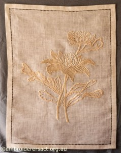 Waratah Tray Cloth stitched by Marjorie Gilby