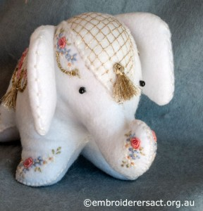 detail 2 of Elephant Softie stitched by Barbara Adams