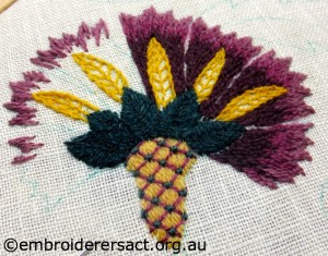 Crewel Flower stitched by Jenny Balderson