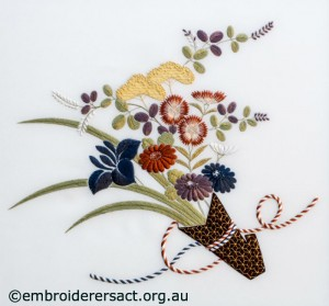 Detail 1 from Bouquet from the Heart of Japan stitched by Irene Burton