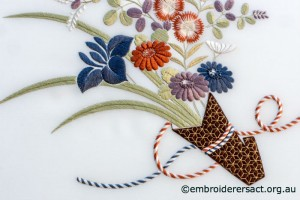 Detail 3 from Bouquet from the Heart of Japan stitched by Irene Burton