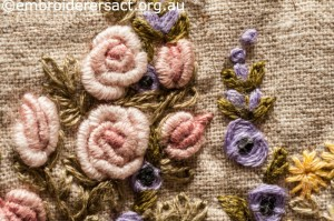 Detail 3 of Flower Garden Needlecase stitched by Yvonne Kingsley