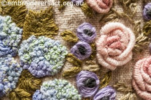 Detail 4 of Flower Garden Needlecase stitched by Yvonne Kingsley