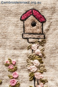 Detail 6 of Flower Garden Needlecase stitched by Yvonne Kingsley