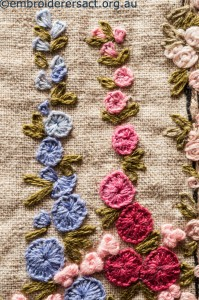 Detail 7 of Flower Garden Needecase stitched by Yvonne Kingsley