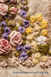 Detail 8 of Flower Garden Needlecase stitched by Yvonne Kingsley