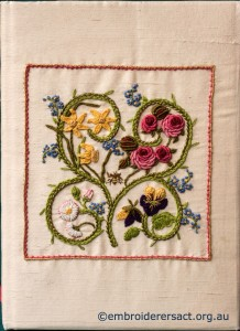 Flower Garden Diary Cover stitched by Marjorie Gilby