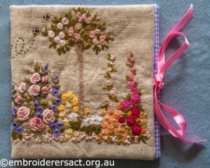 Flower Garden Needlecase stitched by Yvonne Kingsley