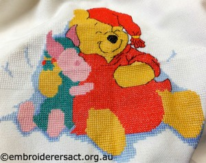 Winnie the Pooh cross stitched by Sarah Kimmorley