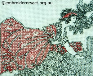 Detail 1 of Blackwork stitched by Susan Coates
