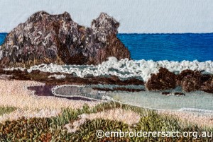 Detail 1 of Coastal Seascape stitched by Agnes Sciberras