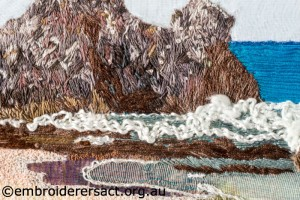 Detail 2 of Coastal Seascape stitched by Agnes Sciberras