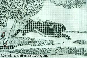 Detail 3 of Blackwork stitched by Susan Coates