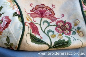 detail 4 of Crewelwork Stable Bag stitched by Jillian Bath