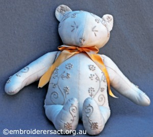 Candlewick Teddy Bear stitched by Jillian Bath