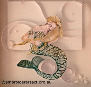 Detail 2 of Mermaid stitched by Agnes Sciberras