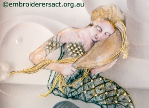Detail 3 of Mermaid stitched by Agnes Sciberras