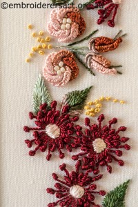 Detail 3 of Shades of Autumn Brazilian Embroidery stitched by Sharon Burrell