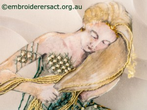 Detail 4 of Mermaid stitched by Agnes Sciberras